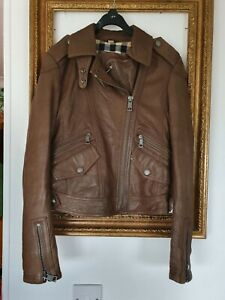 Burberry Brit Lambskin Brown Leather Biker Jacket Size Uk 4 6