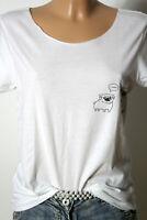 T-Shirt Gr. S weiß mit Hunde Motiv Kurzarm Damen T-Shirt