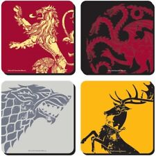 NEW SET OF FOUR COASTERS GAME OF THRONES STARK LANNISTER TARGARYEN SIGIL BOXED