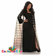 Adults Ladies Vampire Spider Web Cape With Hood Halloween Fancy Dress Costume