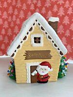 "Vintage Christmas Tree Ceramic Mold Santa Claus House Light Up Holiday 6"""