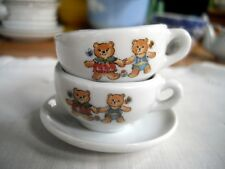 Vintage Miniature Porcelain Doll Teddy Bear Tea Cups & Saucer ~
