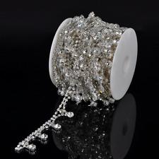 1 Yard Clear Crystal Rhinestone Chain Sewing Costume Applique Bridal Dress DIY