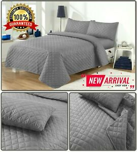 3 PCS Quilted Bedspread Throw Comforter Set Bedding Single Double King Size New