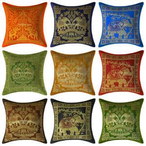 Home Decrative Throw Pillow Case Cover Indian Brocade Elephant Silk Cushions
