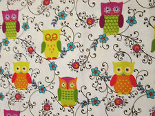 OWL FLOWERS VINES OWLS WHITE COTTON FABRIC FQ