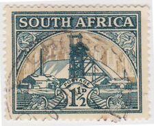 (RSA150)1933SouthAfrica1½d green&gold goldmine(South)E)