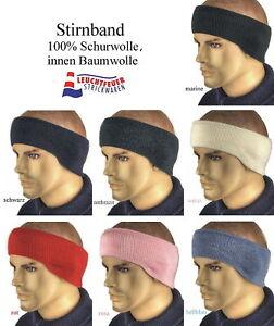 Stirnband Ohrenwärmer 100% Schurwolle (Merino);   Innenvlies 100% Baumwolle