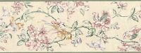Wallpaper Border Traditional Watercolor Floral Branches  Birds Pink Green Plum
