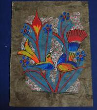 Vintage Watercolor & Gouache of Colorful Birds Mexican Folk Art Homemade Paper
