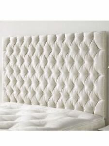 TULIP Design 44 INCH TALL Wall Mounted Headboard in VELVET WITH MATCHING BUTTON