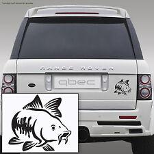 Pêche la carpe Voiture / bamper / Fenêtre Autocollant Vinyle / portable autocollant noir!!! 10 cm x 9cm