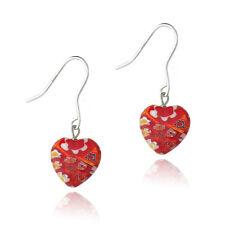 Silver .925 MURANO glass Millefiori RED HEART EARRINGS