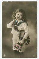 c 1912 Child Children CUTE SAILOR SUIT GIRL kids photo postcard