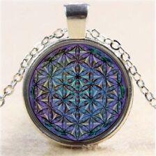 Vintage fleur de vie cabochon tibetan silver verre chaîne collier pendentif