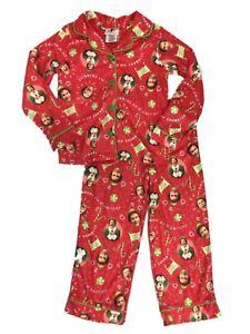 NEW Buddy The Elf Movie Girls 2 Piece Button-Up Christmas Pajamas  Size 6/6X