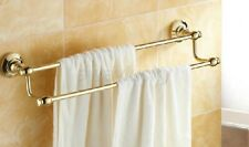 Bathroom Accessory Wall Mounted Gold Color Brass Double Towel Bar Rail Rack