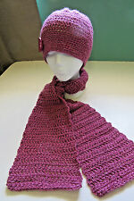 NEW Pink Scarf and Hat SET, Handmade, Crochet, Silk/Alpaca/Wool Organic, Stylish