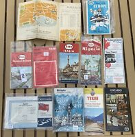 VINTAGE LOT 1960's travel 12 maps - Canada, Italy, Norwich, Britian, Europe ESSO