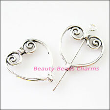 6Pcs Tibetan Silver Heart Circle Spacer Frame Beads Charms 19.5x20.5mm