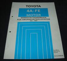 Werkstatthandbuch 4A-FE Motor Toyota Corolla  Abgaskontrollsystem Stand 10/1987!