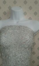 """5 MTR SILVER/ MULTI FLORAL PRINT LACE NET LYCRA STRETCH FABRIC..58"""" WIDE"""