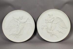 Elegant Pair 19c Royal Copenhagen Thorvaldsen Night Day Porcelain Rondel Reliefs