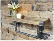 Dutch Imports Industrial Style Chunky Wood Wall Shelf with Iron Pipe Wall 60cm
