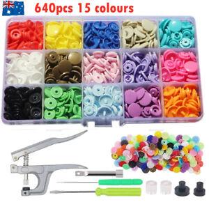 640PCS Plastic Snaps KAM T5 Fastener Craft Buttons Press Stud  Plier Tool Kit AU