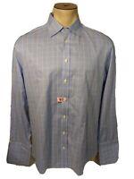 Charles Tyrwhitt Men's 16 1/2-34 Non Iron Slim Fit Blue Yellow White Stripe...