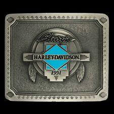 Vtg 90s 91 Harley Davidson Sturgis Western Spirit Motorcycle Biker Belt Buckle