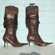 Moda in Pelle Brown Leather Boots Size Uk 6 Eur 39 Womens Studs Pull on Boots
