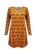 Womens Ladies Halloween Long Sleeve Smock Swing Dress Pumpkin Bats Skulls print