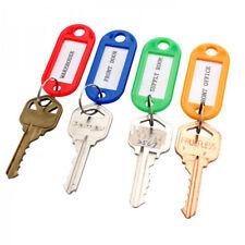 4 Key Tags Coloured Blank ID Fobs Plastic Identity Keyrings Car Metal Key Ring