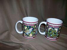 2 CERTIFIED INTERNATIONAL BETTY WHITEAKER TWELVE DAYS OF CHRISTMAS COFFEE MUGS
