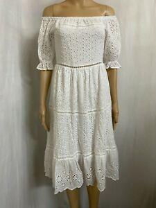TULIPS SIZE 8 BNWT WHITE BRODERIE ANGLAISE  COTTON BOHO DRESS