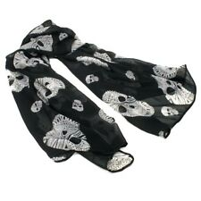 NEW Large Fashion Black Color Sugar Skull Punk Womens Long Scarf Shawl USA SHIP