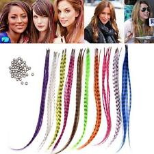 "50Pcs 16"" Rainbow Grizzly Synthetic Feather Hair Extensions+50Pcs Mirco Rings"
