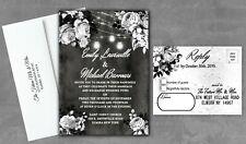 Black and White Wedding Invitations Rose Halloween Bridal Shower Set of 50