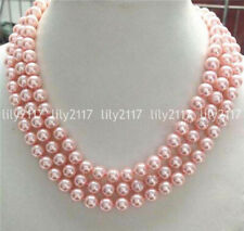 Charming Genuine 3 Rows 8mm Pink South Sea Shell Pearl Round Necklace 17-19''