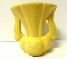 Vintage Niloak Pottery Double Handled Yellow Flower Vase 6 Inch Tall