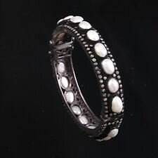 pearl Oval Bracelet Bangle Cuff 48 925 Sterling Silver Natural Diamond White