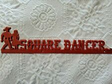"""*Plastic* Square Dancer 2 1/2"""" x 11"""" Novelty Sign, vintage salvage"""