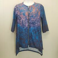 Simply Aster Shirt Top Blouse Zip Up Blue Orange Floral Jacket Tunic L XL 1X NEW