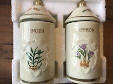 The Lenox Spice Garden Ginger & Saffron Fine Porcelain Jars, New In The Box