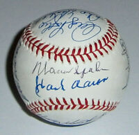 1957 BRAVES team signed baseball Hank Aaron Spahn Mathews JSA 16 AUTOS Autograph