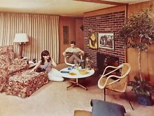 Vintage 1969 Color 8x10 Photo Man & Woman in Modern 1960's Living Room Design