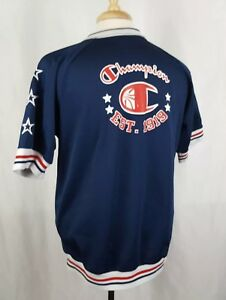 Champion Warm Up Shooting Shirt Youth 18 XL Red Blue White Stars Snap Front