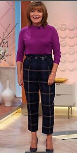 Topshop Check Belted High Waisted Trousers Uk 10 Rrp£42.00