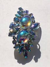 Signed vintage Sherman iridescent  blue rhinestone brooch